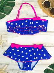 Girls Polka Dot Halter Ruffled Skirted Bottom Two Piece Swimsuit with Bows - Girls Two Piece Swimsuit