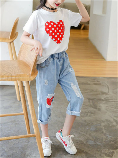 Girls Polka Dot Heart T-Shirt And Jeans Set - 4T / White & Blue - Girls Spring Casual Set