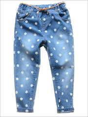 Girls Polka Dot Jeans - Blue / 2T - Girls Jeans