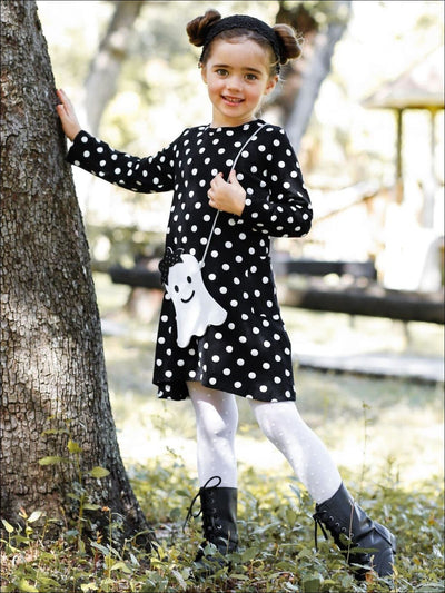Girls Polka Dot Long Sleeve Side Pocket Dress with Matching Cross Body Purse - Girls Halloween Dress