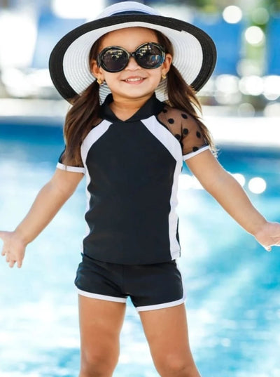 Girls Polka Dot Mesh Top and Shorts Rash Guard Two Piece Swimsuit - Girls Two Piece Swimsuit
