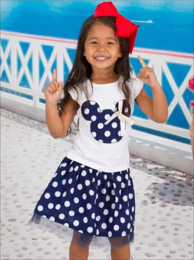 Girls Polka Dot Mouse Applique T-Shirt & Skirt Set - Girls Spring Casual Set