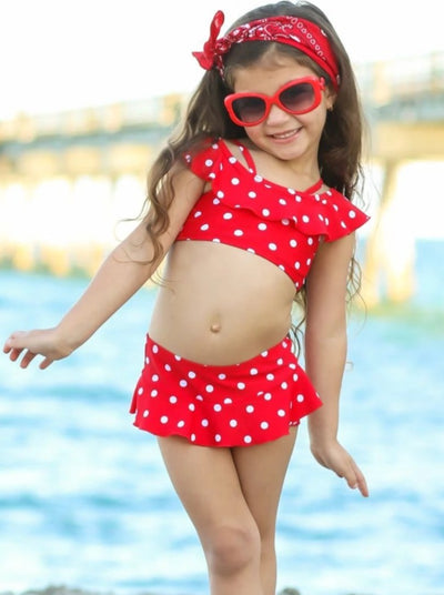 Girls Polka Dot Off the Shoulder Skirted Two Piece Swimsuit - Girls Two Piece Swimsuit