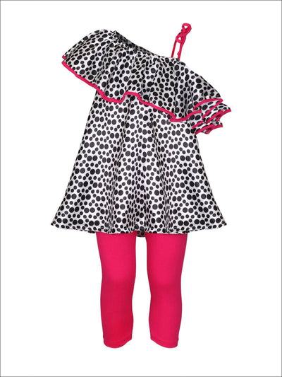 Girls Polka Dot One Shoulder Ruffled Tunic & Capri Leggings Set - Fuchsia / 2T/3T - Girls Spring Casual Set