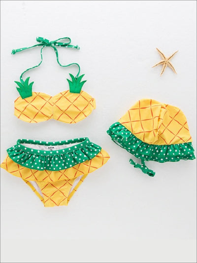 Girls Polka Dot Print Pineapple Two Piece Swimsuit With Matching Hat - 12M-18M / Yellow & Green - Girls Two Piece Swimsuit