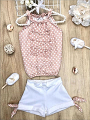 Girls Polka Dot Ruched Halter Neck Cascade Front Top & Cuffed Bow Shorts Set - Girls Spring Casual Set