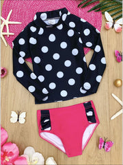 Girls Polka Dot Ruffled Bottom Rash Guard Two Piece Swimsuit - Black / 2T/3T - Girls Two Piece Swimsuit
