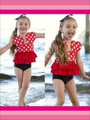 Girls Polka Dot Ruffled Hem Halter Top Bikini Tank Two Piece Swimsuit - Girls Two Piece Swimsuit