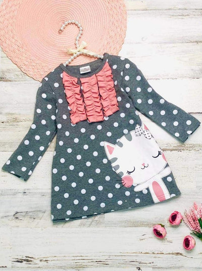 Girls Polka Dot Ruffled Long Sleeve Kitty Dress - Grey / 2T - Girls Fall Casual Dress
