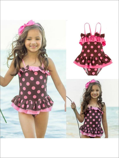 Girls Polka Dot Skirted One Piece