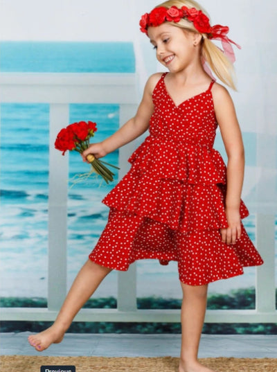 Girls Chiffon Dots Tiered Dress - Girls Spring Casual Dress