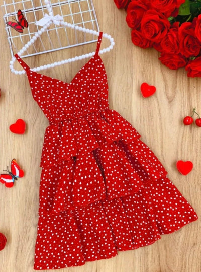 Girls Chiffon Dots Tiered Dress - Red / 2T - Girls Spring Casual Dress