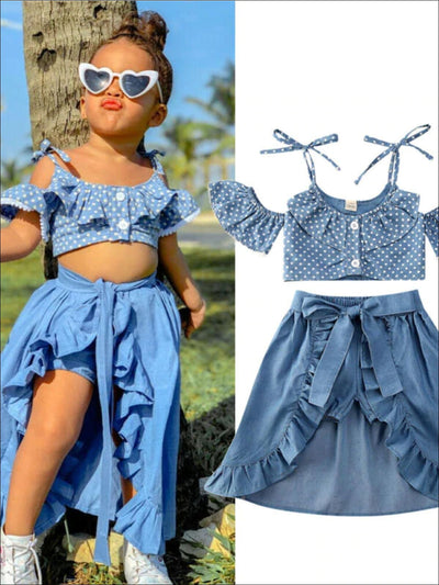 Girls Polka Dot Top and Denim Shorts With Skirt Overlay Set - Blue / 12M - Girls Casual Spring Set