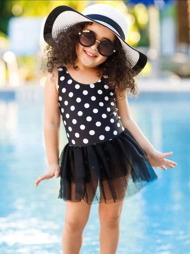 Girls Polka Dot Tutu Skirt One Piece Swimsuit - One Piece Swimsuit