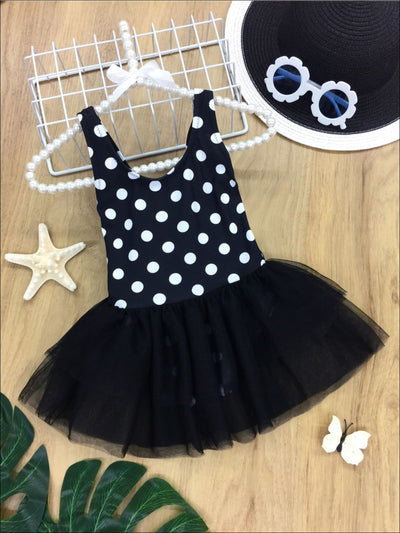 Girls Polka Dot Tutu Skirt One Piece Swimsuit - Black / 2T - One Piece Swimsuit
