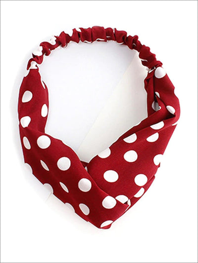 Girls Polka Dot Twisted Elastic Headband - Red - Hair Accessories