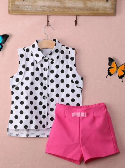 Girls Polkadot Blouse & Shorts Set - Girls Spring Casual Set