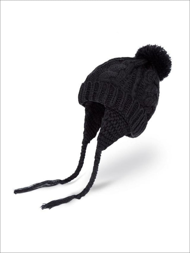Girls Pom Pom Knitted Hat - Girls Hats