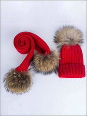 Girls Pom Pom Knitted Hat and Scarf - Girls Hats