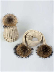 Girls Pom Pom Knitted Hat and Scarf - Beige - Girls Hats