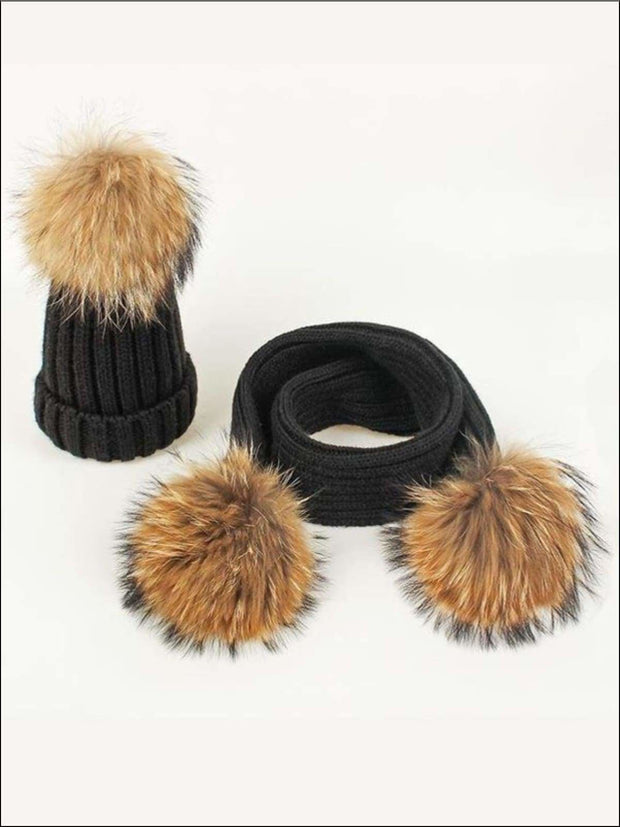 Girls Pom Pom Knitted Hat and Scarf - Black - Girls Hats
