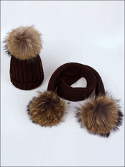 Girls Pom Pom Knitted Hat and Scarf - Brown - Girls Hats