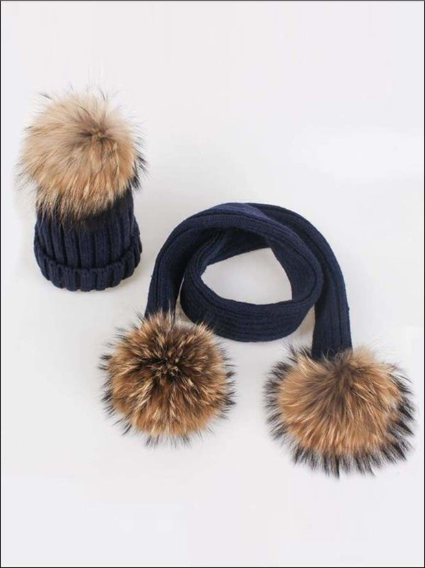 Girls Pom Pom Knitted Hat and Scarf - Navy - Girls Hats