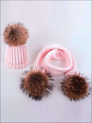 Girls Pom Pom Knitted Hat and Scarf - Pink - Girls Hats