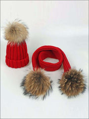 Girls Pom Pom Knitted Hat and Scarf - Red - Girls Hats