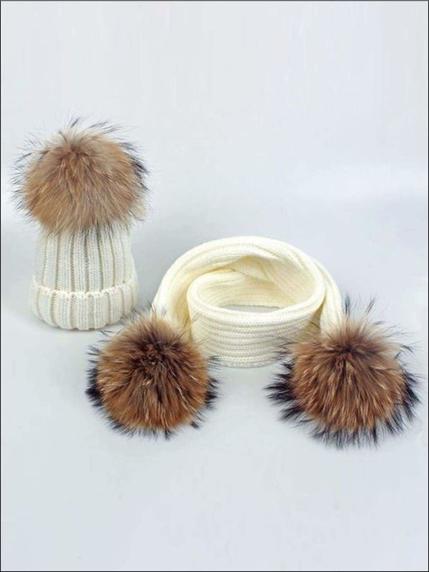 Girls Pom Pom Knitted Hat and Scarf - White - Girls Hats