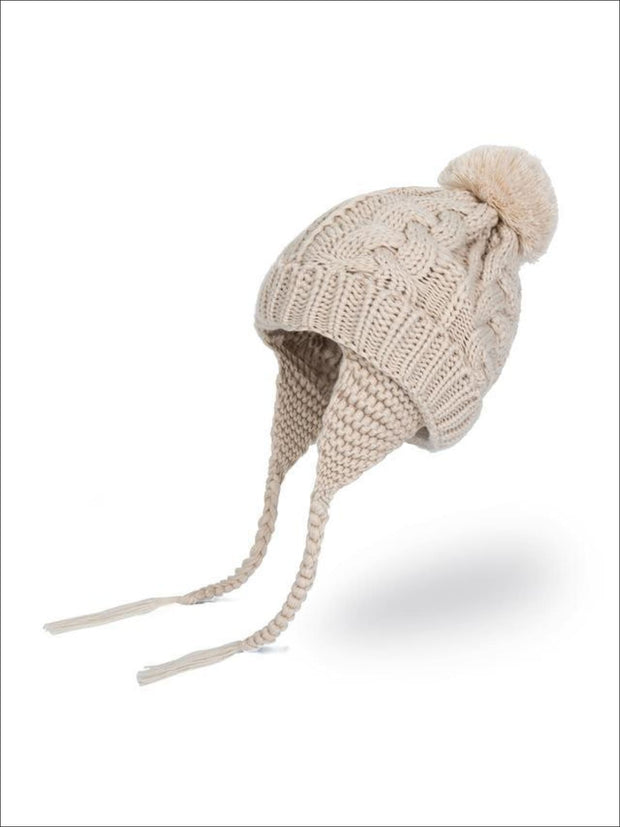 Girls Pom Pom Knitted Hat - Beige - Girls Hats