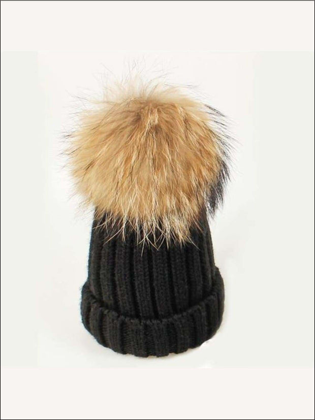 Girls Pom Pom Knitted Hat - Black - Girls Hats