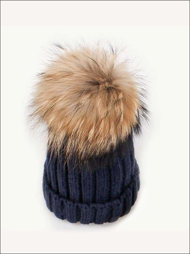Girls Pom Pom Knitted Hat - Blue - Girls Hats