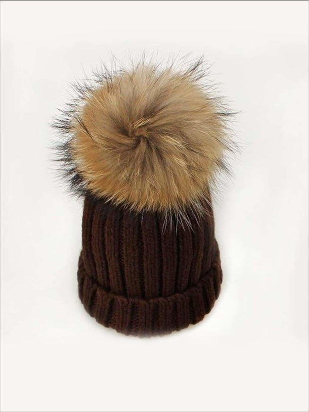Girls Pom Pom Knitted Hat - Brown - Girls Hats