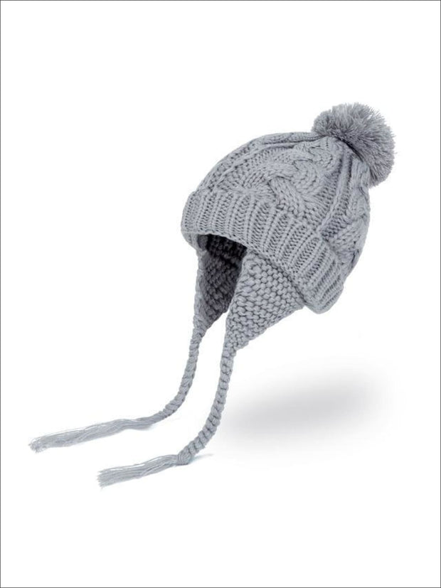 Girls Pom Pom Knitted Hat - Grey - Girls Hats