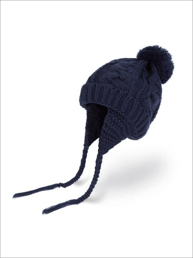 Girls Pom Pom Knitted Hat - Navy Blue - Girls Hats