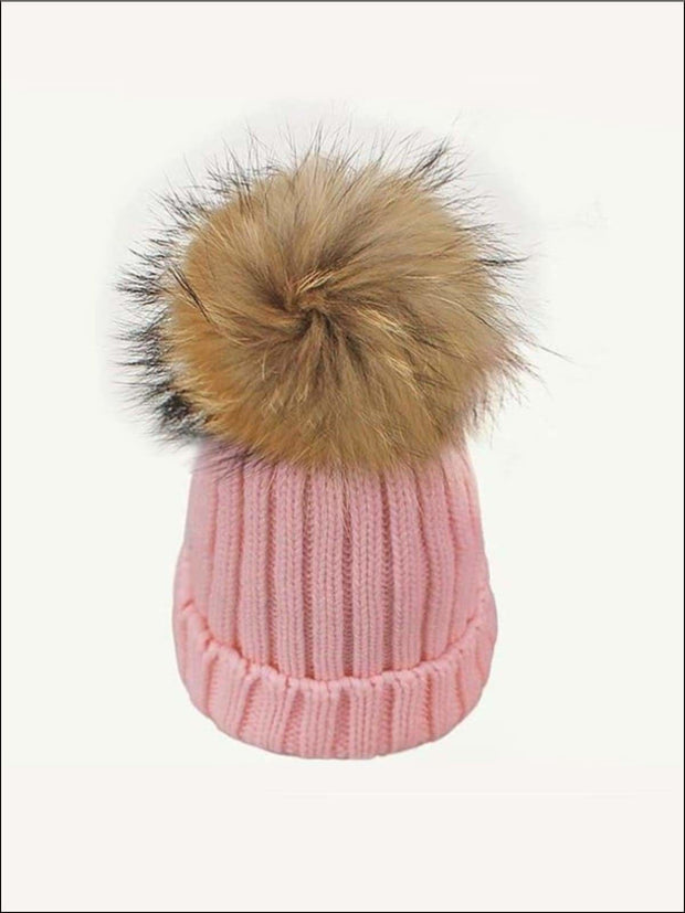 Girls Pom Pom Knitted Hat - Pink - Girls Hats