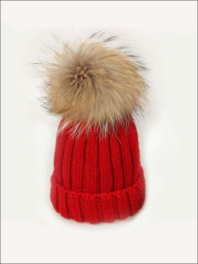Girls Pom Pom Knitted Hat - Red - Girls Hats