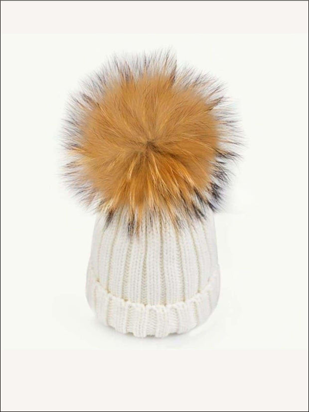 Girls Pom Pom Knitted Hat - White - Girls Hats