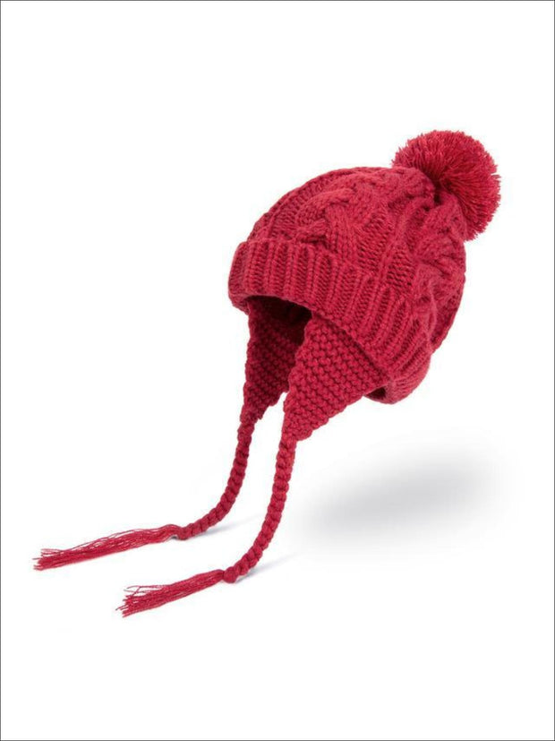 Girls Pom Pom Knitted Hat - Wine - Girls Hats
