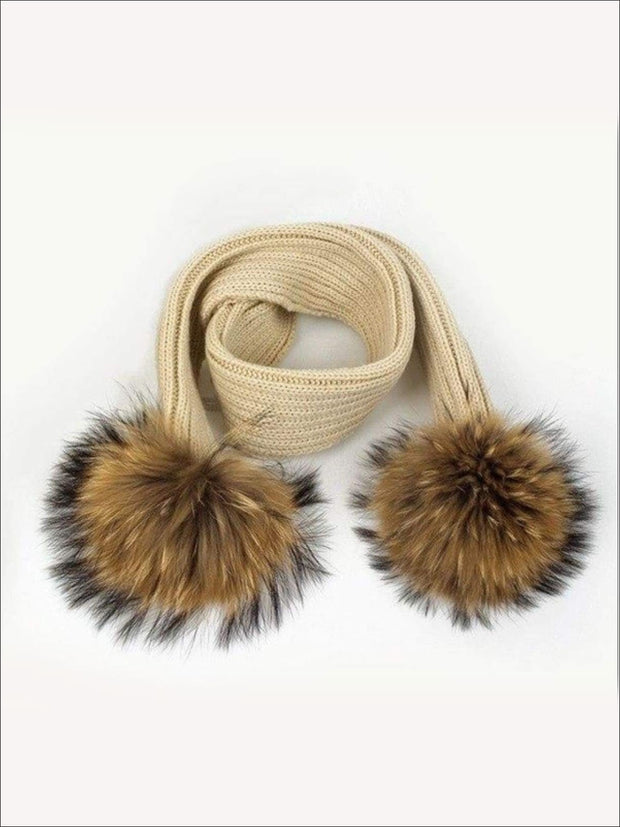 Girls Pom Pom Knitted Scarf - Beige - Girls Hats