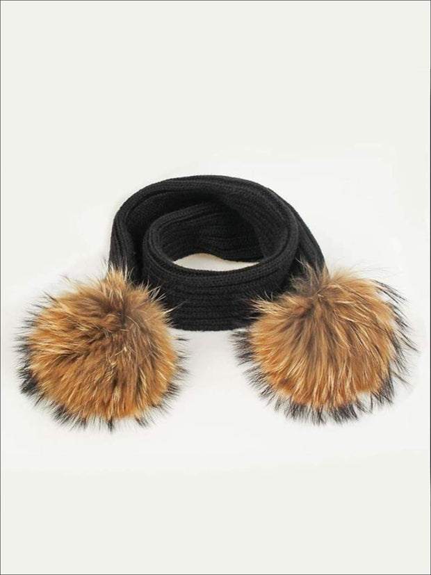 Girls Pom Pom Knitted Scarf - Black - Girls Hats