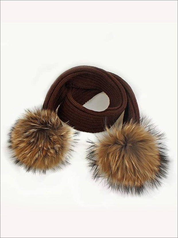 Girls Pom Pom Knitted Scarf - Brown - Girls Hats