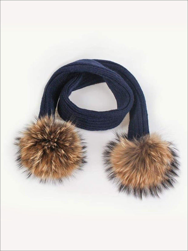 Girls Pom Pom Knitted Scarf - Navy - Girls Hats