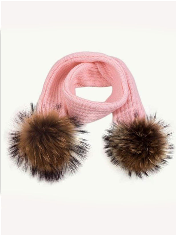 Girls Pom Pom Knitted Scarf - Pink - Girls Hats