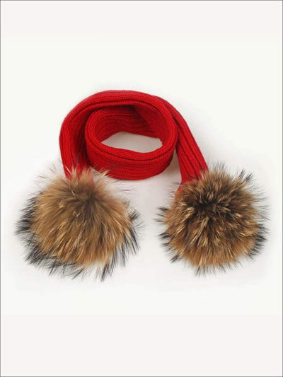 Girls Pom Pom Knitted Scarf - Red - Girls Hats