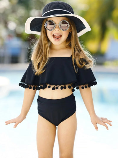 Girls Pom Pom Ruffle Cold Shoulder Two Piece Swimsuit - Girls Two Piece Swimsuit