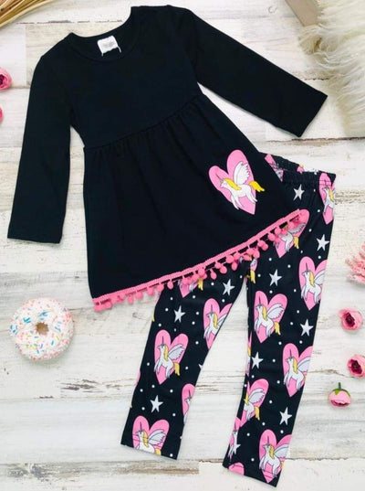 Girls Pom Pom Trim Long Sleeve Tunic & Unicorn Heart Print Leggings & Scarf Set - Black / 3T - Girls Fall Casual Set