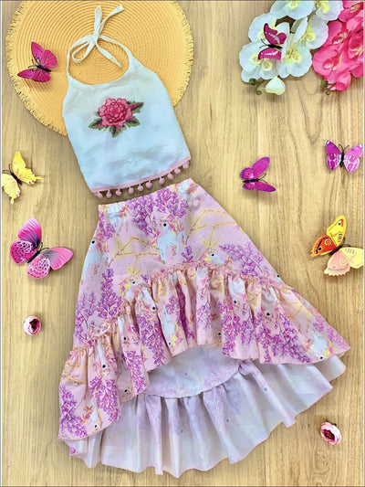 Girls Pom Pom Trimmed Halter Top & Satin Hi-Lo Ruffled Skirt Set - Purple / 2T/3T - Girls Spring Dressy Set