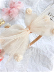 Girls Pom Pom Tulle Bow Headband - Cream - Hair Accessories